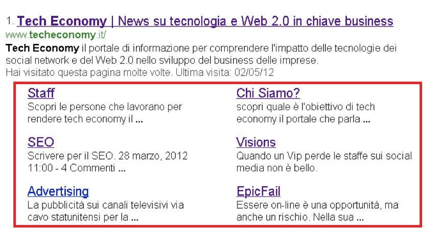 guida-webmaster tool-sitelink