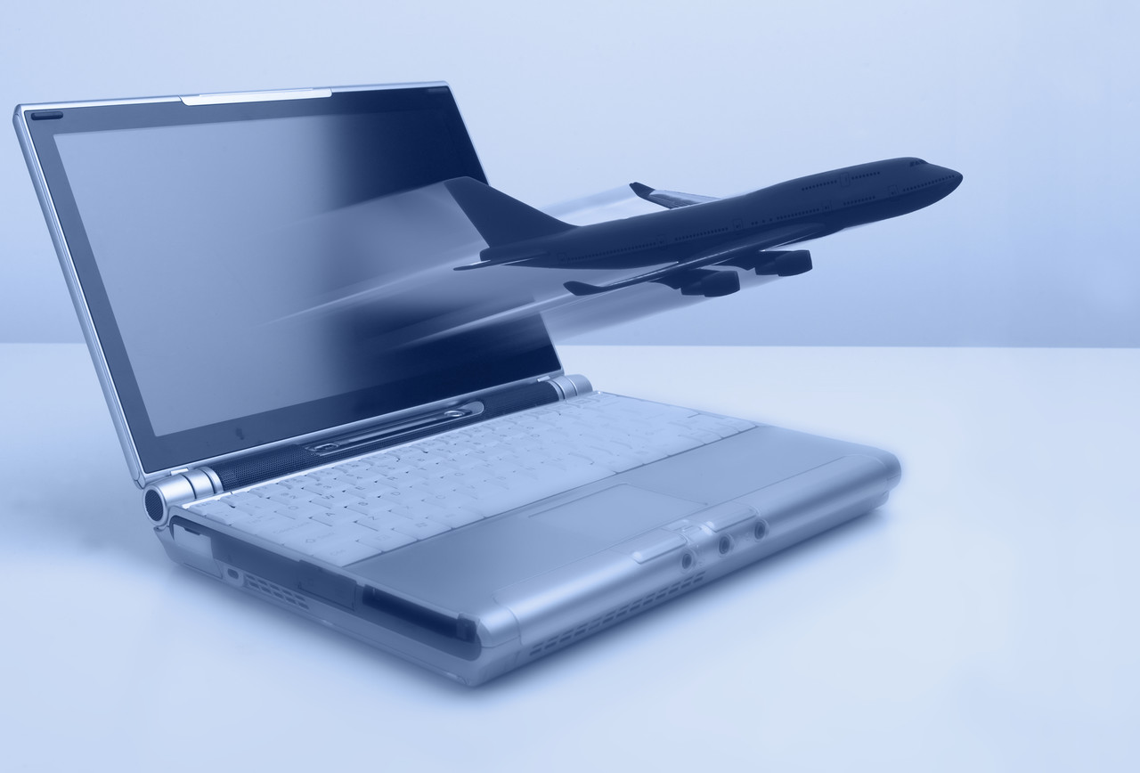 Laptop with Airplane