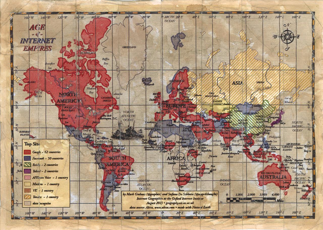 """Age of Internet Empires: Il mondo diviso in quattro grandi """"regni"""" Google, Facebook, Baidu e Yahoo"""