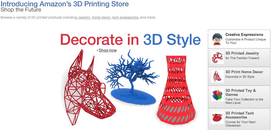 Amazon lancia portale per la stampa 3d di oggetti for Amazon oggetti per la casa
