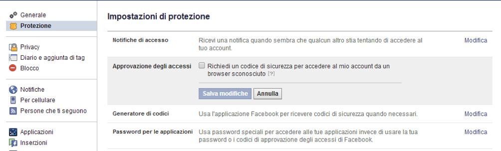 Facebook autenticazione