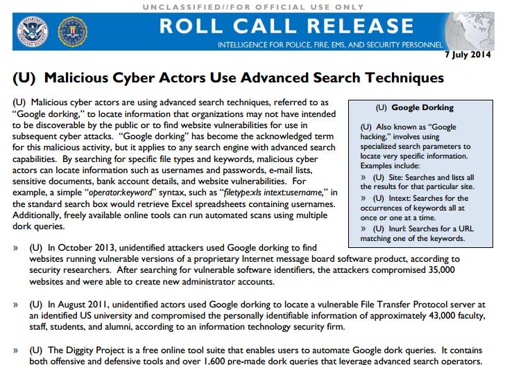 Google-Dorking-FBI-memo