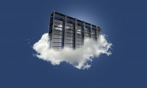 Cloud Server on the Sky. Cloud Data Center Floating on the Small Cloud. Clear Blue Sky. Cloud Technology Theme.