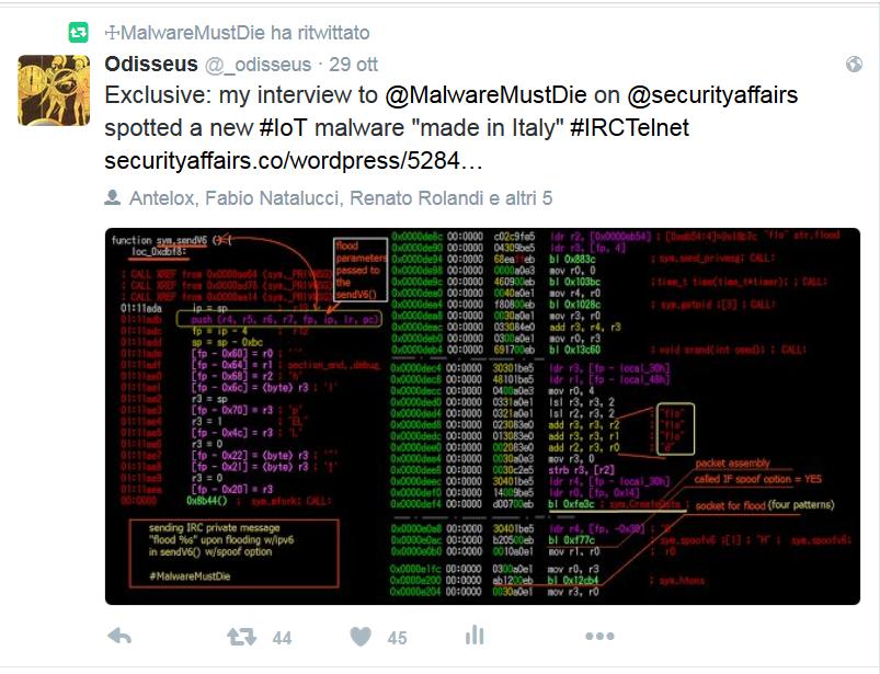 """Figura 5. Intervista a MalwareMustDie sul nuovo malware """"Made In Italy""""."""