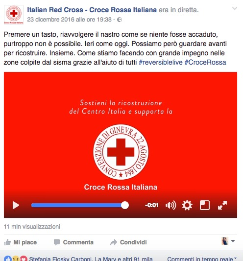 croce rossa italiana video terremoto facebook