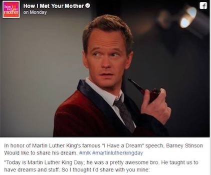 how i met your mother martin luther king day facebook