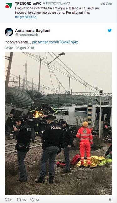 trenord twitter treno deragliato